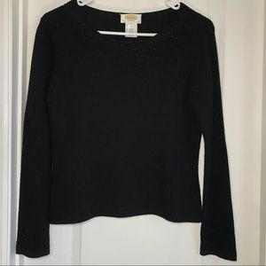 Black Talbots Silk and Cashmere beaded sweater
